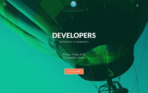 Screenshot of Developers Page techniche.org - Developers || T'18 - captured Oct. 21, 2018