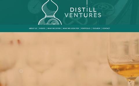 Screenshot of Home Page distillventures.com - Distill Ventures: Funding for Spirits Brands - captured June 4, 2017