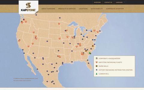 Screenshot of Locations Page kapstonepaper.com - Locations | KapStone Paper and Packaging | KapStone - captured Feb. 12, 2016