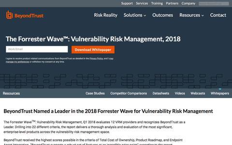 Screenshot of Team Page beyondtrust.com - The Forrester Wave™: Vulnerability Risk Management, 2018 | BeyondTrust - captured Jan. 3, 2020