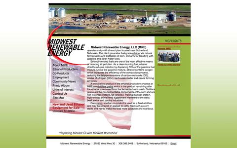 Screenshot of Home Page mreethanol.com - Midwest Renewable Energy LLC Sutherland Nebraska fuel-grade ethanol through natural fermentation and distillation of corn, co product wet distillers grains and syrup - captured Oct. 6, 2014