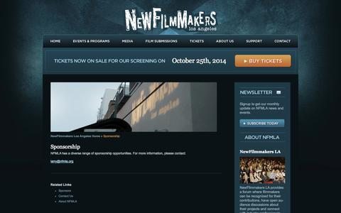 Screenshot of Support Page newfilmmakersla.com - Support | LA Film Festival NewFilmmakers Los Angeles - captured Oct. 7, 2014