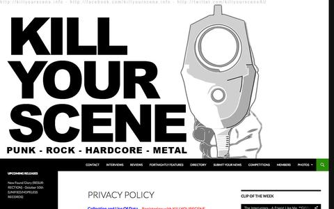 Screenshot of Privacy Page killyourscene.info - | Privacy Policy - captured Sept. 30, 2014