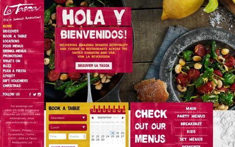 Screenshot of Home Page latasca.com - La Tasca | Spanish Tapas Restaurant - captured Sept. 19, 2014