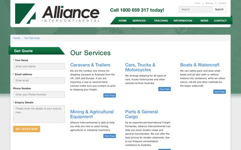 Screenshot of Services Page aiau.com.au - Our Services - Alliance Intercontinental Pty Ltd - captured Nov. 2, 2014