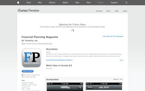 Screenshot of iOS App Page apple.com - Financial Planning Magazine on the App Store on iTunes - captured Oct. 23, 2014
