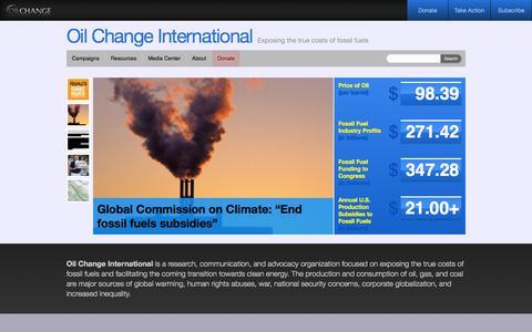 Screenshot of Home Page priceofoil.org - The Price of Oil - Oil Change InternationalOil Change International - captured Sept. 22, 2014