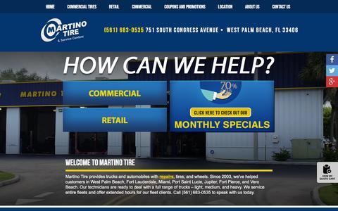 Screenshot of Home Page martinotire.com - West Palm Beach FL Tires & Auto Repair Shop | Martino Tire - captured Feb. 22, 2016