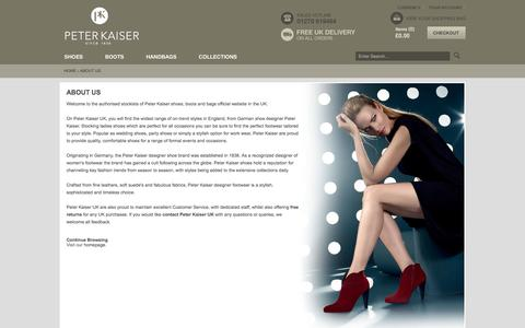 Screenshot of About Page peterkaiser.co.uk - About Us | Peter Kaiser UK | Ladies Designer Shoes Boots & Handbags - captured Oct. 31, 2014