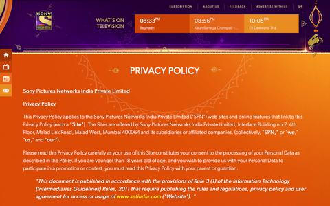 Screenshot of Privacy Page setindia.com - Sony Entertainment Television (India) | SET India - captured Oct. 28, 2017
