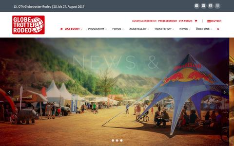 Screenshot of Home Page globetrotterrodeo.at - Das OTA Globetrotter-Rodeo | 25. bis 27. August 2017 - captured May 3, 2017