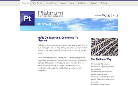 Screenshot of About Page platinumcontrol.com - About Us - Platinum Control Technologies - captured Sept. 30, 2014