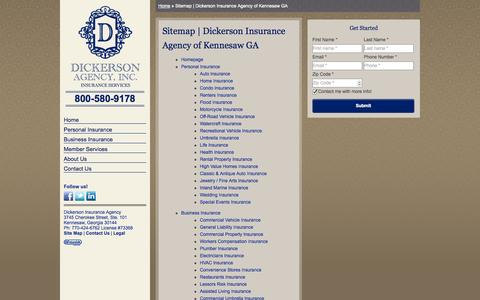 Screenshot of Site Map Page dickersonagency.com - Sitemap | Dickerson Insurance Agency of Kennesaw GA - captured Sept. 30, 2014