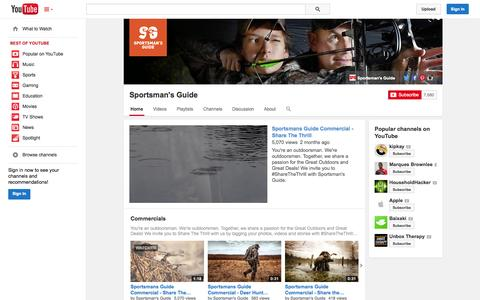 Screenshot of YouTube Page youtube.com - Sportsman's Guide  - YouTube - captured Oct. 25, 2014