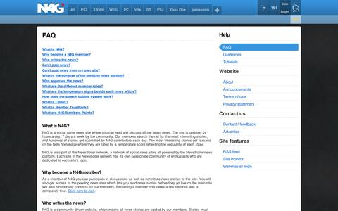 Screenshot of FAQ Page n4g.com - TermsOfUse - captured Sept. 12, 2014