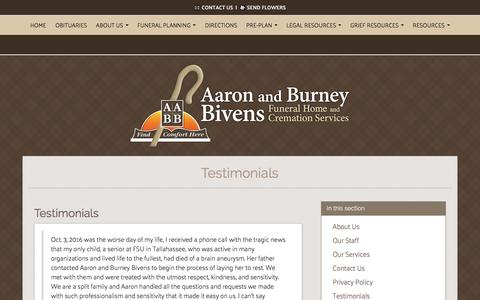 Screenshot of Testimonials Page bivensfuneralhome.com - Aaron and Burney Bivens Funeral Home and Cremation Services | Orange Park FL funeral home and cremation - captured Nov. 20, 2016
