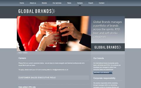Screenshot of Jobs Page globalbrands.co.uk - Careers at Global Brands | GlobalBrands.co.uk - captured Aug. 7, 2017
