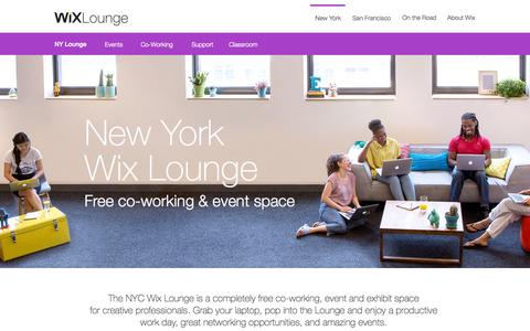Screenshot of Home Page wixlounge.com - Wix Lounge New York | Free Co-Working & Events Space - captured Sept. 23, 2014
