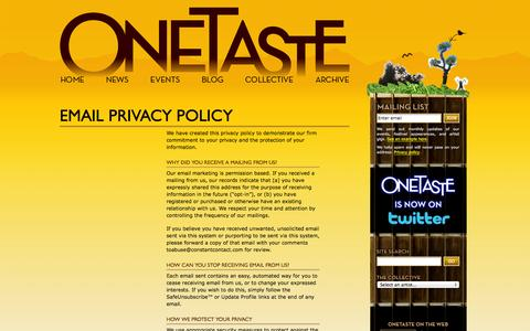 Screenshot of Privacy Page onetaste.co.uk - Email Privacy Policy - captured Oct. 7, 2014