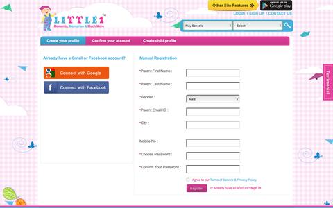 Screenshot of Signup Page little1.in - Create Your Profile for Baby Record Book from Little1 - captured Dec. 4, 2015