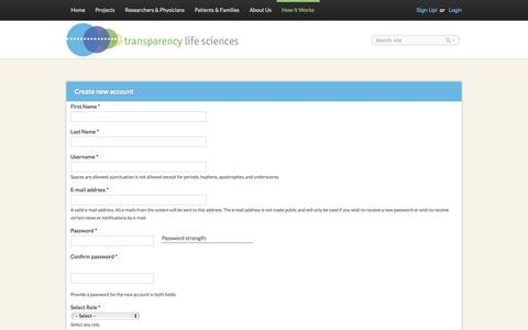 Screenshot of Signup Page transparencyls.com - Create new account | TLS - captured Oct. 7, 2014