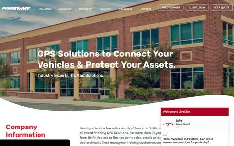 Screenshot of About Page passtimegps.com - About Us   PassTime GPS - captured Nov. 14, 2019