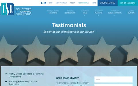 Screenshot of Testimonials Page lsrlegal.co.uk - Testimonials | LSR Solicitors & Planning Consultants - captured Sept. 25, 2018