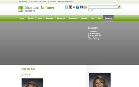 Screenshot of Contact Page uli.org - Contact Us - ULI Baltimore - captured Sept. 24, 2014