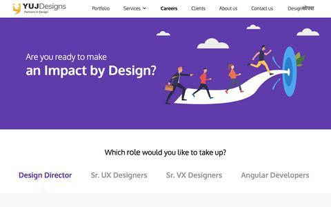 Screenshot of Jobs Page yujdesigns.com - Careers - Yuj Designs - captured Feb. 14, 2020