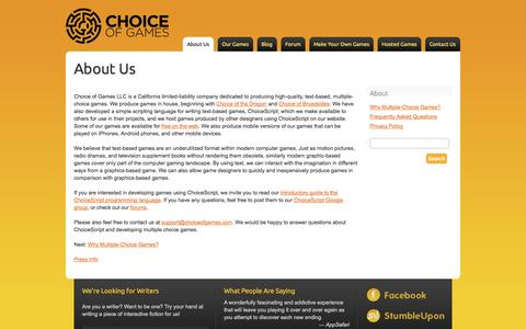 Screenshot of About Page choiceofgames.com - About Us - Choice of Games LLC - captured Oct. 28, 2014