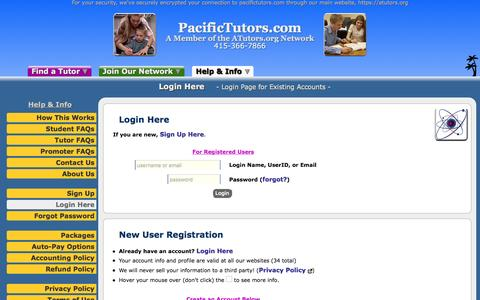 Screenshot of Login Page atutors.org - PacificTutors.com: Login Here - Login Page for Existing Accounts - captured Oct. 17, 2016