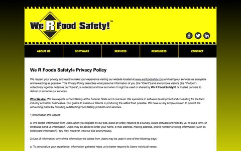 Screenshot of Privacy Page werfoodsafety.com - We R Food Safety! - Food Safety Software, Electronic HAACP Plans, Food Safety Consulting, Food Safety Training - captured Aug. 11, 2016