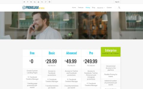 Screenshot of Pricing Page promojam.com - Pricing Plans | PromoJam Social Marketing - captured July 21, 2014