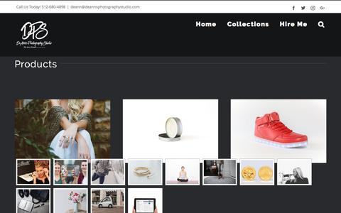 Screenshot of Products Page deannsphotographystudio.com - Products – DeAnn's Photography Studio - captured Aug. 6, 2018