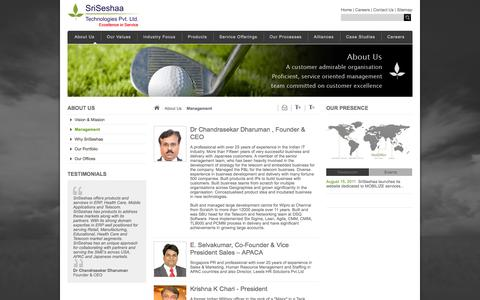 Screenshot of Team Page sriseshaa.com - SriSeshaa Technologies - Management - captured Oct. 9, 2014