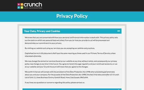Screenshot of Privacy Page crunch.co.uk - Privacy Policy - captured Oct. 31, 2014