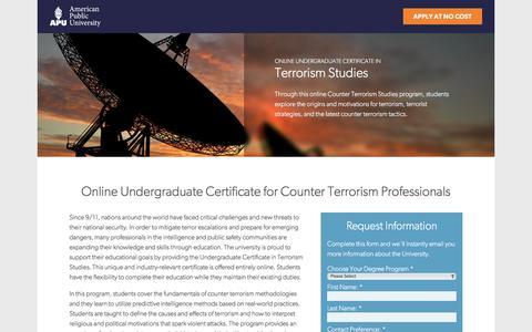 Screenshot of Landing Page apus.edu - Online Undergraduate Certificate in Terrorism Studies | American Public University - captured Aug. 18, 2016