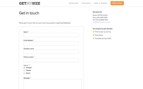 Screenshot of Contact Page getmysize.com.au - Get My Size - Get in touch - captured Oct. 27, 2014