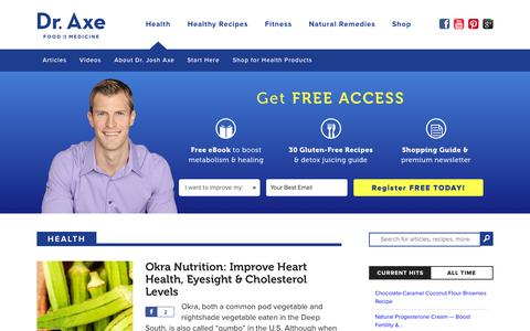 Screenshot of Home Page draxe.com - Dr. Axe   Health and Fitness News, Recipes, Natural Remedies - captured Oct. 17, 2015
