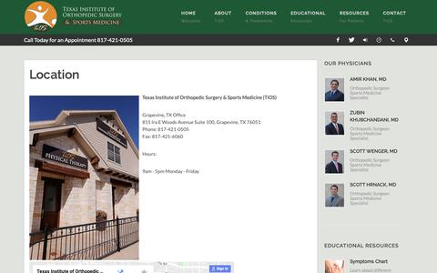 Screenshot of Locations Page tiosorthosports.com - Location - Texas Institute of Orthopedic Surgery and Sports Medicine (TiOS) Grapevine and Fort Worth, Texas - captured Oct. 21, 2018