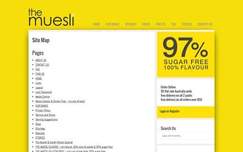 Screenshot of Site Map Page themuesli.com.au - Site Map - The Muesli - captured Oct. 5, 2014