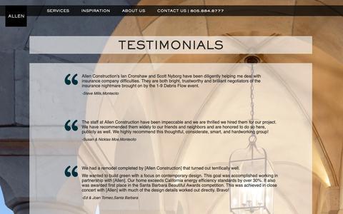 Screenshot of Testimonials Page buildallen.com - Testimonials   Allen Construction - captured Oct. 3, 2018