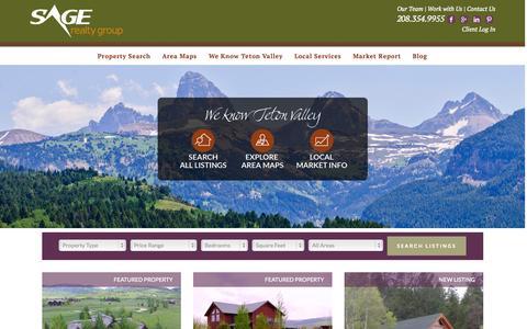 Screenshot of Home Page sagerg.com - Sage Realty Group - Teton Valley, Idaho Real Estate - captured June 17, 2015