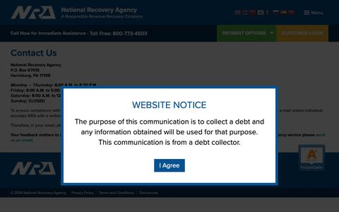 Screenshot of Contact Page nationalrecovery.com - Contact Us | NRA – National Recovery Agency - captured Oct. 20, 2018