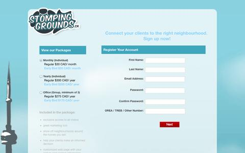 Screenshot of Pricing Page stompinggrounds.ca - Stomping Grounds - captured Nov. 4, 2014