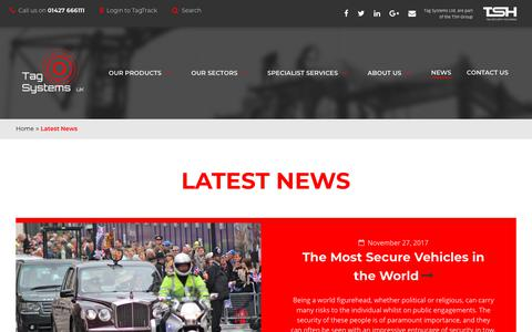 Screenshot of Press Page tagsystems.co.uk - Latest News - captured Feb. 15, 2018