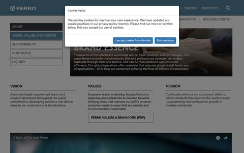 Screenshot of About Page ferro.com - Vision Values Mission - captured Sept. 23, 2018