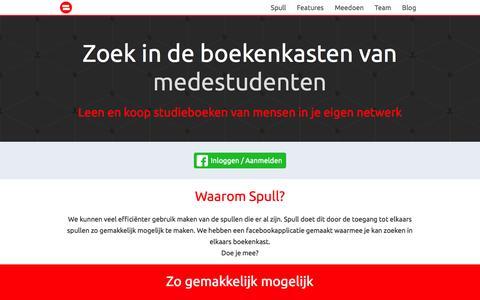Screenshot of Home Page spull.nl - Zoek in de boekenkasten van medestudenten - Spull - captured Jan. 22, 2015