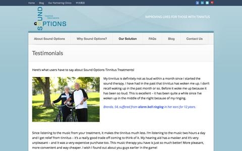 Screenshot of Testimonials Page soundoptions.ca - Testimonials | Tinnitus Sound Therapy | Sound Options Tinnitus Treatments - captured Oct. 7, 2014