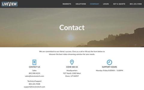Screenshot of Contact Page liveviewtech.com - Contact   Live View Technologies - captured Jan. 31, 2016